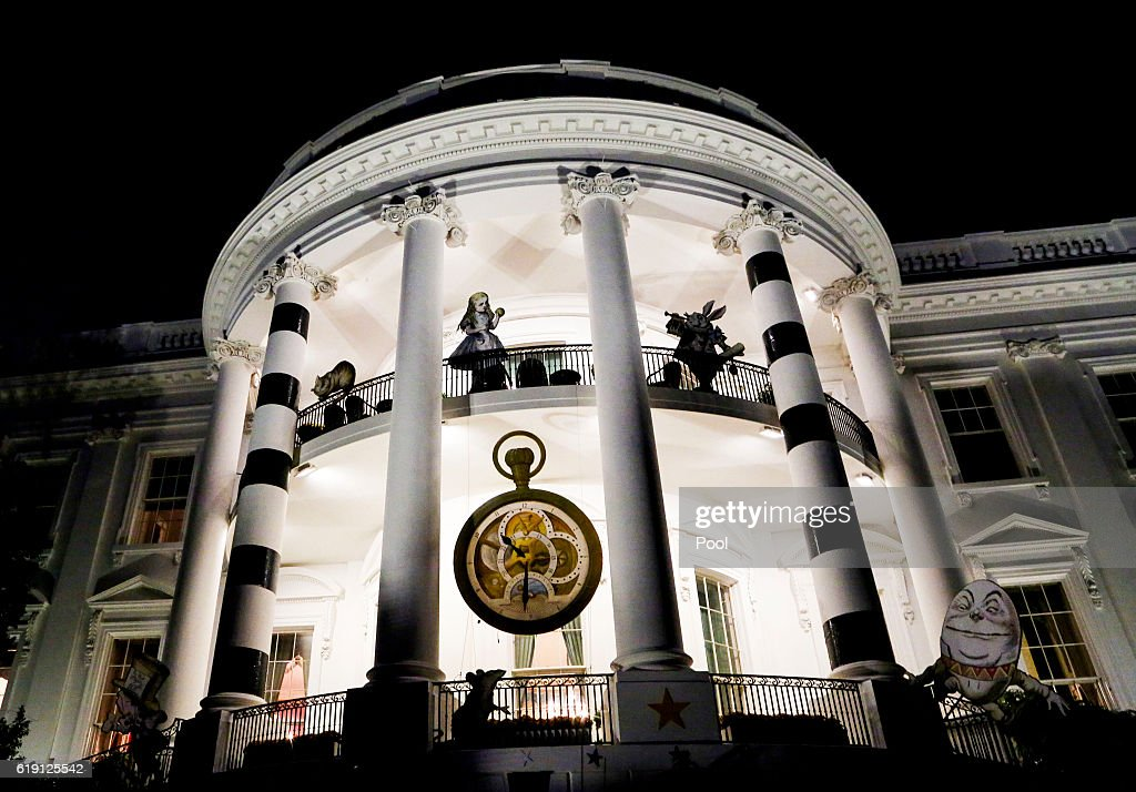 The White House is decorated for Halloween on October 29, 2016 in Washington DC.