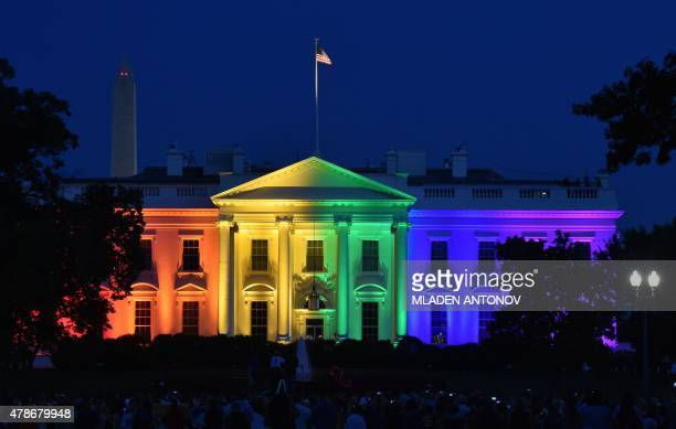 The White House is lightened in the rainbow colors in Washington on June 26 2015 The US Supreme Court ruled Friday that gay marriage is a nationwide...