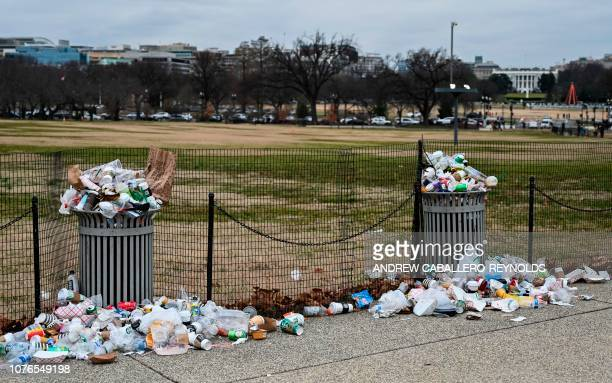The White House is seen in the background as trash lays uncollected on the National Mall due to the partial shutdown of the US government on January...