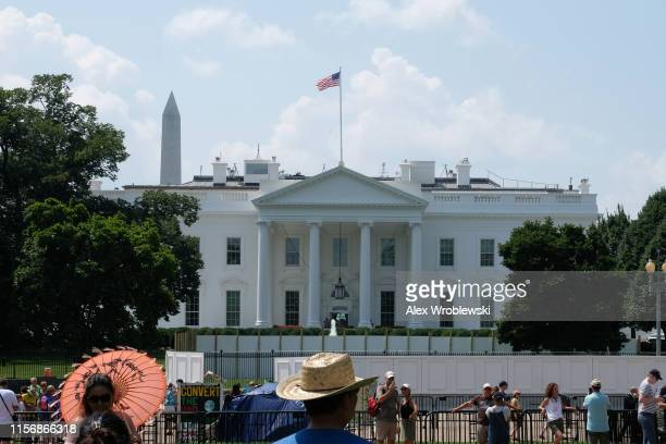 The White House is seen on Saturday morning during an excessive heat wave on July 20 2019 in Washington DC An excessive heat warning remains in...