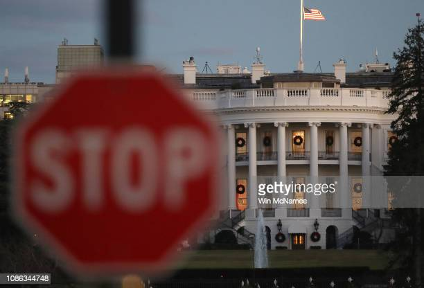 The White House is shown during a partial shutdown of the federal government on December 24 2018 in Washington DC The partial shutdown will continue...