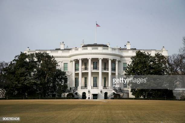 The White House is shown during departure by President Donald Trump for the congressional Gold Medal ceremony for former Senate Majority Leader Bob...