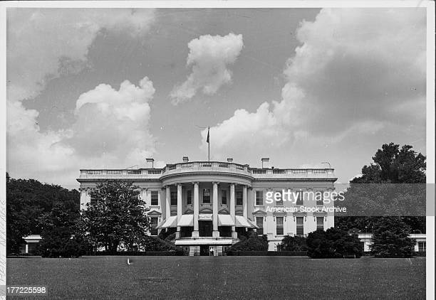 The White House official residence of the President of the USA as viewed from the south portico Washington D C circa 19501970