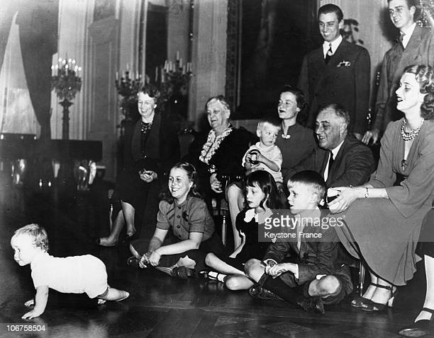 The White House President Franklin Delano Roosevelt And Members Of His Family From Left To Right His Grandson John Boettiger Jr His Wife Eleanor His...