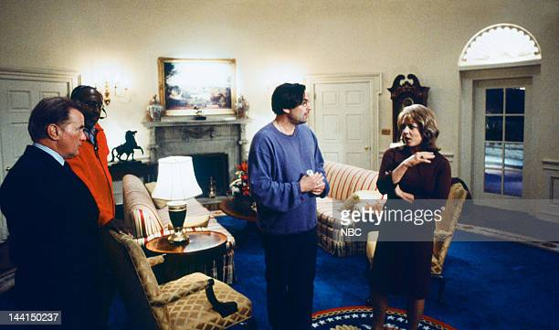 WING 'The White House ProAm' Episode 17 Pictured Martin Sheen as President Josiah 'Jed' Bartlet director Ken Olin Allison Janney as Claudia Jean 'CJ'...