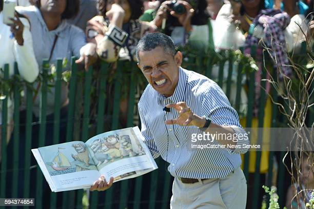 4/21/14 The White House Washington DC President Barack Obama and family host the 2014 Easter Egg Roll at the White House The President reads a story...