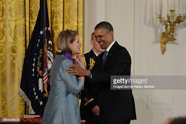 """The White House- Washington, DC President Barack Obama presents the 2012 National Arts and Humanities Awards to Renee Fleming """" the people's diva""""..."""