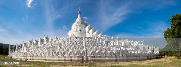 the white pagoda of hsinbyume (mya thein dan pagoda ) paya temple, mingun, mandalay, myanmar - myanmar culture stock photos and pictures