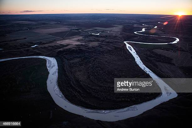 The White River weaves through the landscape near where the proposed Keystone XL pipeline would pass on October 13 2014 south of Presho South Dakota