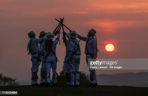 The White Rose Morris Men during their 'Dance in the Dawn' to mark May Day or Beltane as it was once known at first light on Castle Hill in...