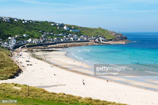 The White Sandy Beach And Blue Water At Sennen Cove Near Lands End In Cornwall England Britain Uk