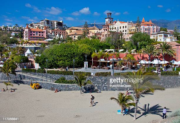 The white sandy beach Playa del Duque in Playa de las Americas on March 25 2011 in Tenerife Spain Tenerife is the biggest of the canary islands and...