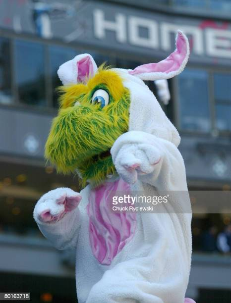 The White Sox mascot Southpaw dressed as the Easter Bunny entertains the crowd during their game against the Minnesota Twins April 8 2007 at US...