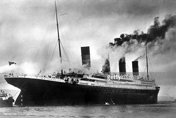 The White Star Liner Titanic at sea 1912 The ship was launched at Belfast on the 31st May 1911 and was the largest vessel afloat at the time On its...