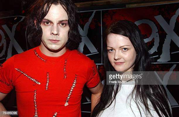 The White Stripes bacstage at 99X's The Big Rock at Stone Mountain Park in Atlanta June 20 2003 LR Jack White Meg White during the 99x Presents The...