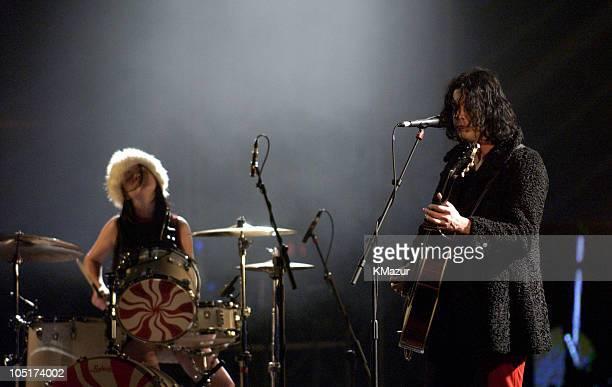 The White Stripes during MTV Europe Music Awards 2003 Rehearsals at Ocean Terminal Arena in Edinburgh United Kingdom