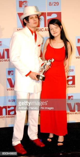 The White Stripes Jack and Meg White with their award for 'Best special effets in a video' 'Best Editing in video' and 'Breakthrough video' at the...