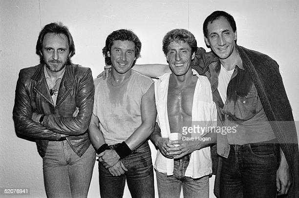 The Who backstage at Wembley Stadium during the Live Aid Concert 13th July 1985 From left to right John Entwistle Kenny Jones Roger Daltrey and Pete...