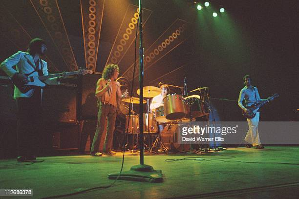 The Who bassist John Entwistle singer Roger Daltrey drummer Keith Moon guitarist Pete Townshend on stage during a live concert performance at the...