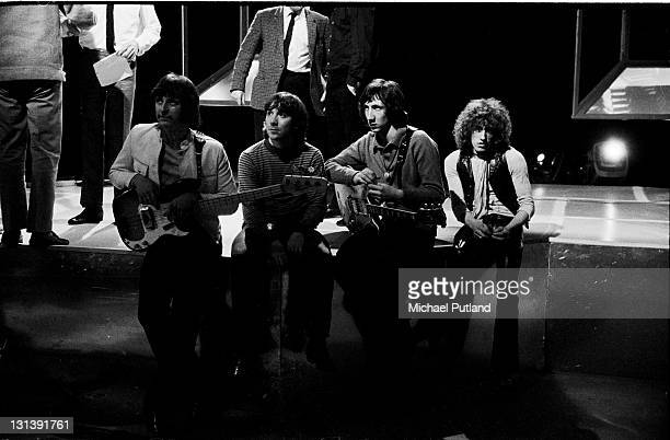 The Who group portrait on set during a rehearsal for BBC TV Top of the Pops London 24th April 1969 LR John Entwistle Keith Moon Pete Townshend Roger...