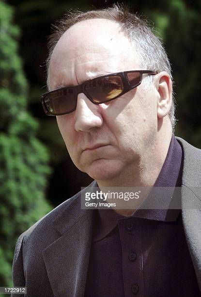 The Who guitarist Pete Townshend arrives for the funeral service of band mate John Entwistle at St Edwards Church July 10 2002 in StowontheWold...