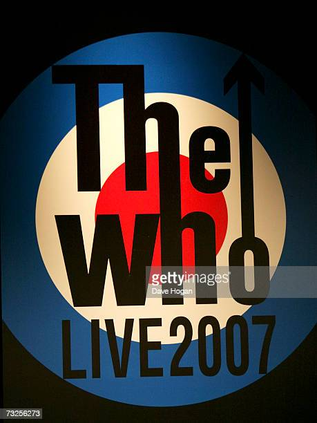 The Who logo is displayed at a press conference to announce details of the band's forthcoming European tour at The Hospital on February 8 2007 in...