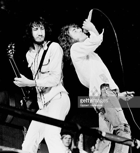 The Who perform live on stage at Oval Cricket Ground in London on September 18 1971 L-R Pete townshend, Roger Daltrey