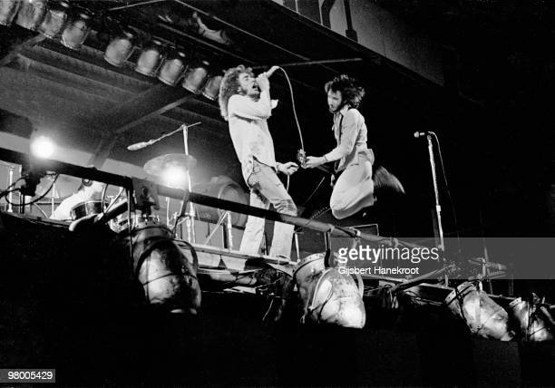 The Who perform live on stage at Oval Cricket Ground in London on September 18 1971 L-R Keith Moon, Roger Daltrey, Pete Townshend
