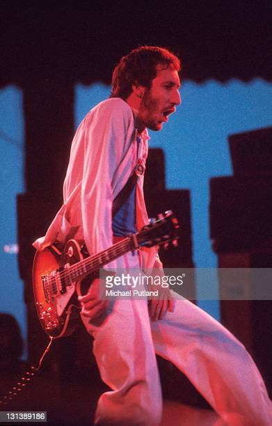 The Who perform on stage at Charlton Athletic football ground London 31st May 1976 Pete Townshend