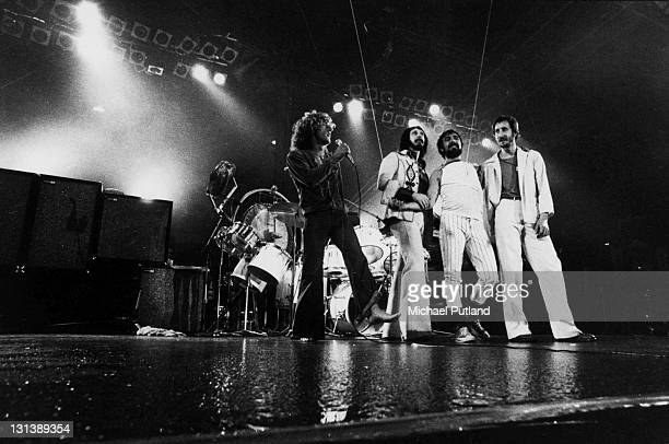 The Who perform on stage at Charlton Athletic football ground London 31st May 1976 LR Roger Daltrey John Entwistle Keith Moon Pete Townshend