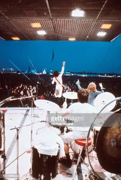 The Who perform on stage at the Fete de l'Humanite music festival Paris 9th September 1972 LRR Pete Townshend Keith Moon Roger Daltrey