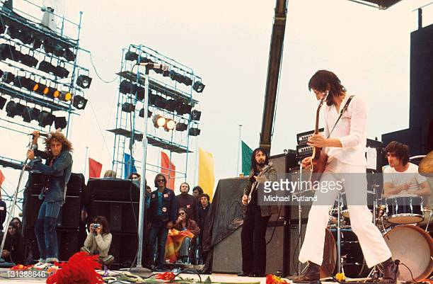The Who perform on stage at the Fete de l'Humanite music festival, Paris, 9th September 1972, L-R Roger Daltrey, John Entwistle, Pete Townshend,...