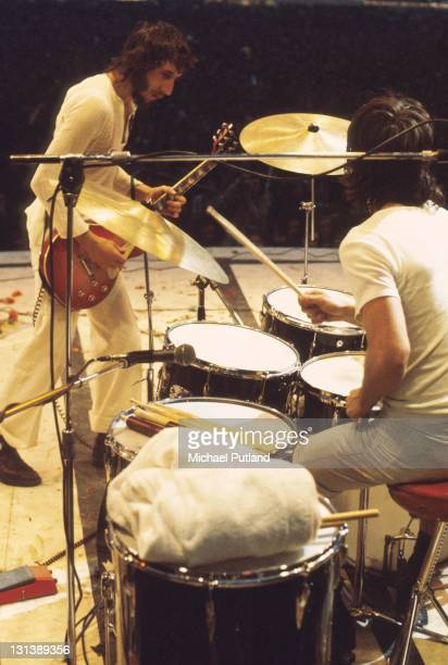 The Who perform on stage at the Fete de l'Humanite music festival Paris 9th September 1972 LR Pete Townshend Keith Moon