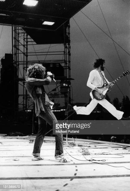 The Who perform on stage at the Fete de l'Humanite music festival Paris 9th September 1972 LR Roger Daltrey Pete Townshend