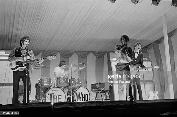 The Who perform on stage at the Windsor National Jazz and Blues Festival UK 30th July 1966 LR John Entwistle Keith Moon Roger Daltrey Pete Townshend