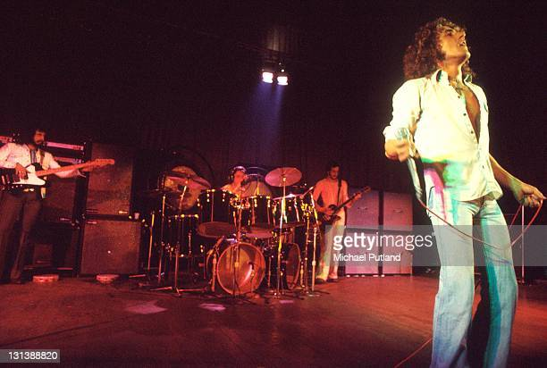 The Who perform on stage during the Quadrophenia tour at the Lyceum London November 1973 LR John Entwistle Keith Moon Pete Townshend Roger Daltrey...