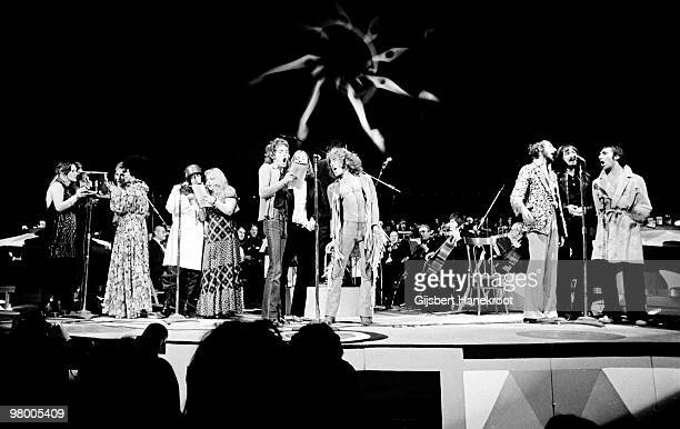 The Who perform the Rock Opera Tommy at The Rainbow Theatre in Finsbury Park London on December 09 1972 LR Rod Stewart Merry Clayton Peter Sellers...