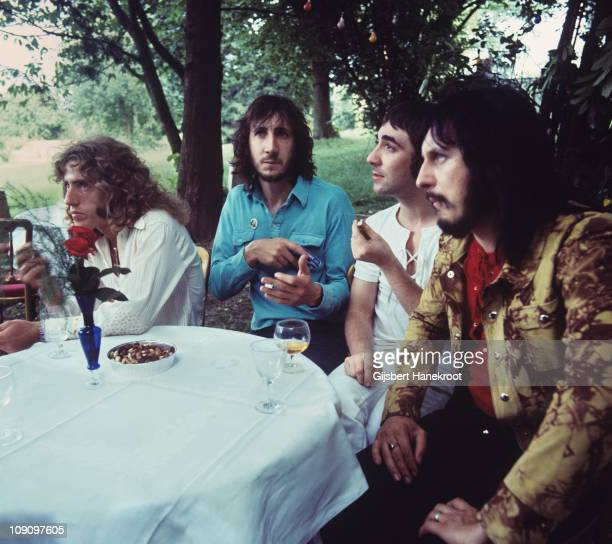 The Who pose for a group portrait LR Roger Daltrey Pete Townshend Keith Moon and John Entwistle on 15th July 1971 at a press conference in Surrey...