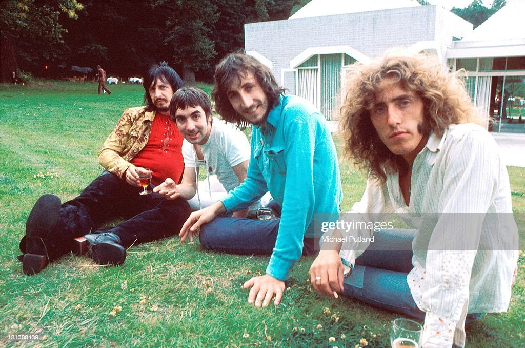 The Who pose for a press call, July 1971, Surrey, United Kingdom, John Entwistle, Keith Moon, Pete Townshend, Roger Daltrey.
