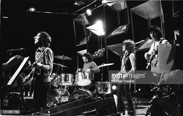 The Who rehearse for an appearance on BBC TV Top of the Pops London 24th April 1969 LR Pete Townshend Keith Moon Roger Daltrey John Entwistle
