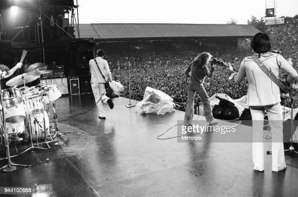 The Who rock group performing at The Valley, home of Charlton Athletic football club. Pictured left to right are: Keith Moon on drums, Pete...