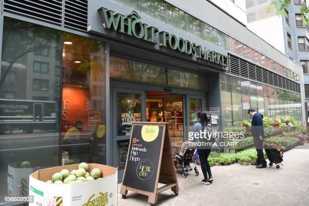 The Whole Foods Market in Midtown New York is seen on June 16, 2017. Amazon is once again shaking up the retail sector, with the announcement Friday...