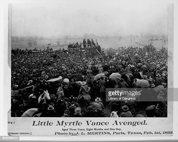 The whole town of Paris Texas shows up to see the lynching of an African American man accused of murdering 3yearold Myrtle Vance February 1 1893