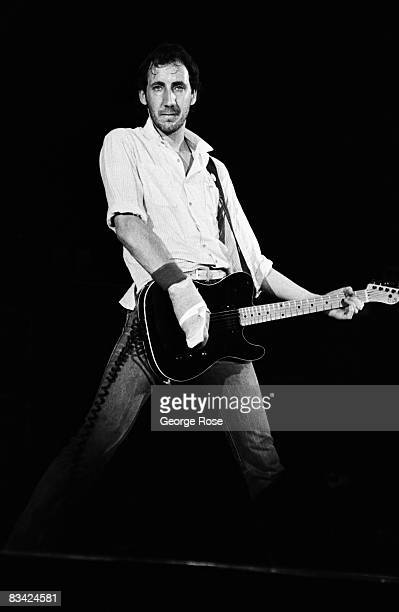 The Who's legendary guitarist Pete Townshend performs during the rock band's final 1982 East Rutherford New Jersey concert tour at Brendan Byrne Arena