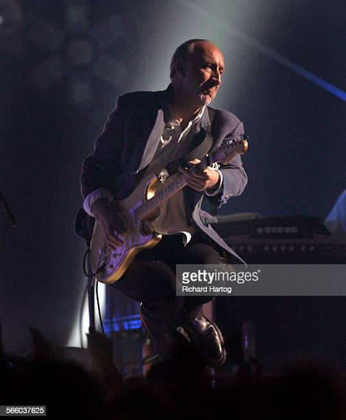The Who's Pete Townsend gets some air as he leaps on the stage during the VH1 Honors tribute to the Who at Pauley Pavilion on the UCLA campus in...