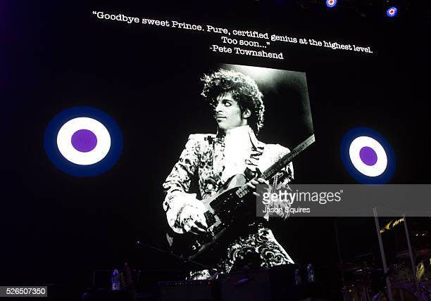 The Who's Pete Townshend pays respect to Prince before the show at Sprint Center on April 29, 2016 in Kansas City, Missouri.