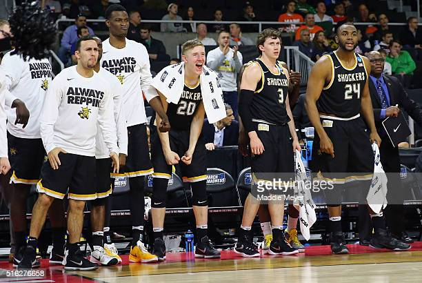 The Wichita State Shockers bench reacts in the second half against the Arizona Wildcats during the first round of the 2016 NCAA Men's Basketball...