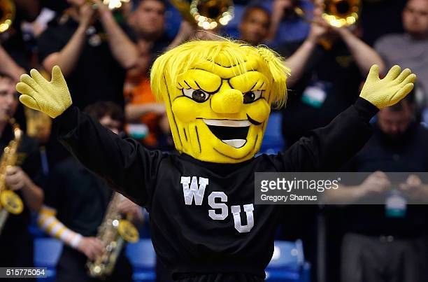The Wichita State Shockers mascot performs during the game between the Wichita State Shockers and the Vanderbilt Commodores in the first round of the...