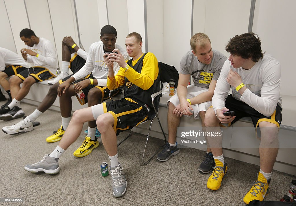 The Wichita State Shockers relax before practice at Energy Solutions Arena in Salt Lake City, Utah, Wednesday, March 20, 2013. WSU will face Pittsburgh in the second round of the NCAA tournament on Thursday.
