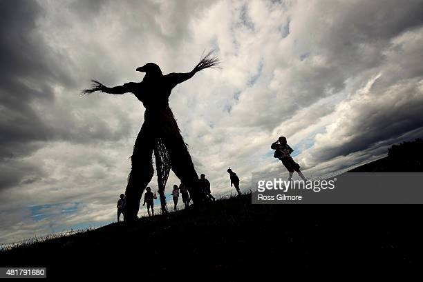 The Wickerman built by local craftsmen Trevor Leat at the Wickerman Festival at Dundrennan on July 24 2015 in Dumfries Scotland